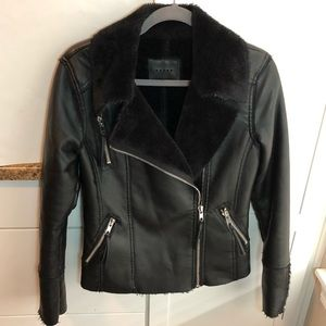 Blank NYC Faux Leather Fur Moto Jacket Black Small